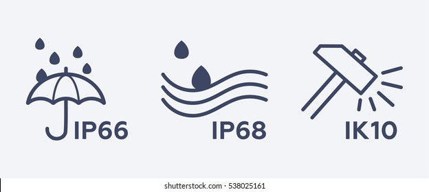 Set of IP Code & IK Code marks. Symbols of protection degree towards solids and liquids, external mechanical impacts