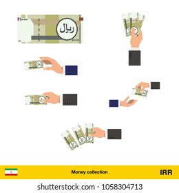 Set of Iranian rial banknote. Holding, throwing Iranian rial banknote.