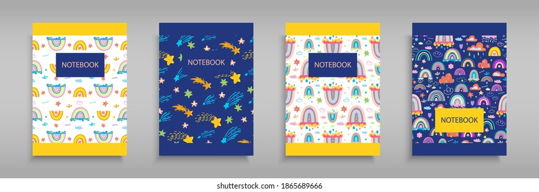 Set iridescent covers for notebooks with Boho rainbows, clouds and stars. For the design of children's books, brochures, templates for school diaries. Vector illustration. Blue and white