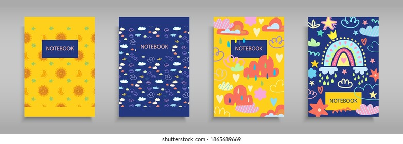 Set iridescent covers for notebooks with Boho girlish rainbows, clouds, rain, and sun. For the design of children s books, brochures, templates for school diaries. Vector illustration