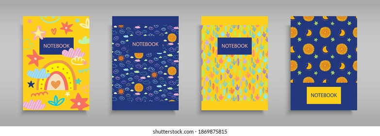 Set iridescent covers for notebooks with Boho girlish rainbows, clouds and stars. For the design of children s books, brochures, templates for school diaries. Vector illustration