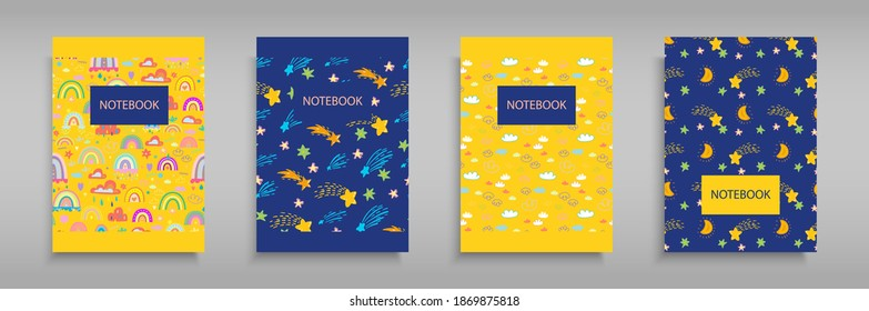 Set iridescent covers for notebooks with Boho girlish rainbows, clouds and stars. For the design of children s books, brochures, templates for school diaries. Vector illustration Yellow and blue