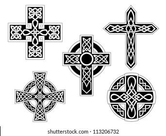 Set of irish celtic crosses logo. Vector illustration