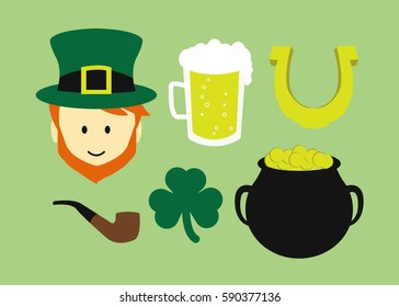 set of irish symbols leprechaun beer horseshoe pot of gold leaf clover and a smoking pipe