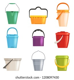 Set iron or plastic bucket, trash can. Isolated on white background. Vector illustration