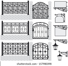 Set of iron wrought fences, gates, signboards and lanterns with decorative ornaments. Vector illustration