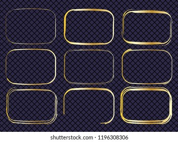 Set of irregular golden rounded rectangles on an elegant lattice seamless pattern. Seamless pattern available in swatches palette