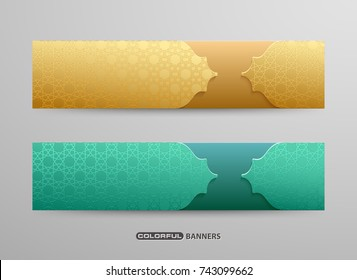 Set of Islamic design banners with 3d pattern