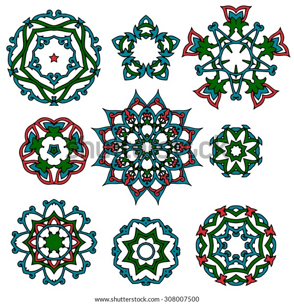 Set of Islamic floral circle design. Traditional round Turkish ornament. Vector illustration.