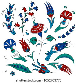 Set of islamic floral design. Turkish tulip and carnation. Traditional ottoman ornament.
