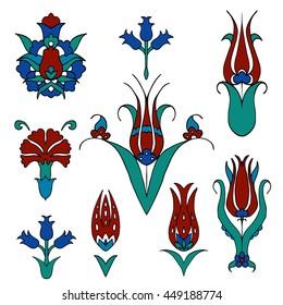 Set of islamic floral design. Turkish tulip and carnation. Traditional turkish ornament. Turkish tulip. Vector illustration.