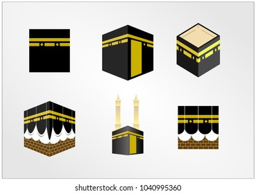 Set of Islamic Icons Eid Mubarak Line Art Icons Set Quran Koran Pray Camel Lamp Kabah moon mosque Mecca vector isolated Collection template