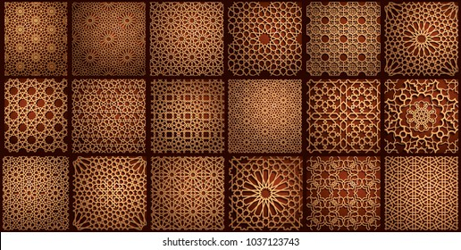 Set of islamic oriental patterns, Seamless arabic geometric ornament collection. Vector traditional muslim background. east culture, indian heritage, arabesque, persian motif,3D Ramadan kareem. Timber