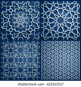 Set of islamic oriental patterns , Seamless arabic geometric pattern. Vector traditional muslim background. east culture, indian heritage, arabesque, persian motif, 3D. Ramadan kareem. Endless texture