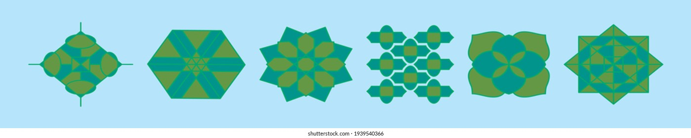 set of islamic ornament cartoon icon design template with various models. modern vector illustration isolated on blue background