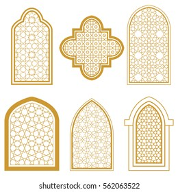 Set of islamic ornamental window. Arabic traditional architecture. Template for design