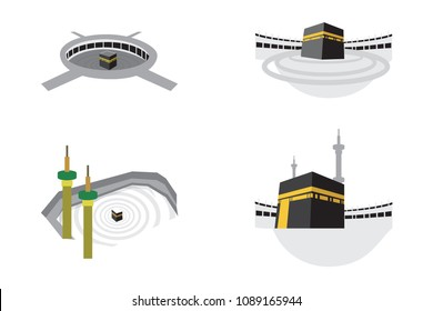 Set of Islamic vector design kaaba in Mecca icon for Hajj and Ramadan or Eid. Islamic Icons mosque Mecca Eid Mubarak Line Art Icons Set Pray Kabah moon mosque Mecca. Vector illustration.