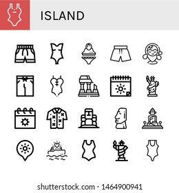 Set of island icons such as Swimsuit, Beach, Ruined, Summer, Statue of liberty, Hawaiian, Moai, Great buddha of thailand, Holidays, Yatch , island