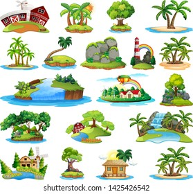 Set of island nature illustration
