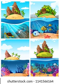 A set of island and underwater scene illustration