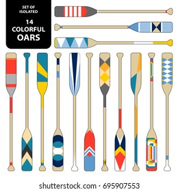 Set of isolated 14 cute colorful oars in red, blue, yellow and white. Vector illustration.