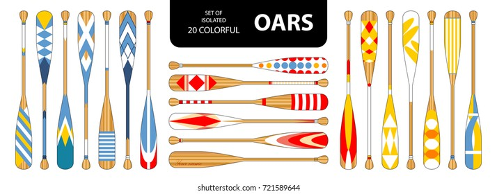 Set of isolated 20 cute colorful oars in red, blue, yellow tone. Vector illustration.