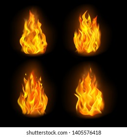 Set of isolated 3d fire or realistic burn, orange flame emoji on transparent background. Emoticon icon or bonfire logo, blaze or light, heat logo. Danger and energy, warning and flammable, hot theme