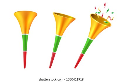 Set of isolated 3d party horns or cartoon soccer trumpet with confetti. Football fan blower or cone toy for children, kids. Stadium megaphone or klaxon instrument,noisemaker.Celebration, musical theme
