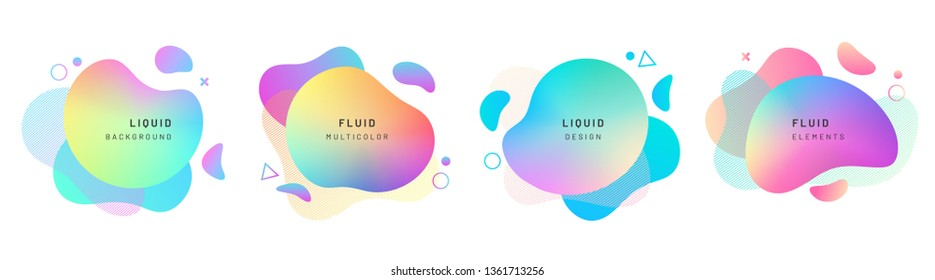 Set of isolated abstract liquid shapes. Elements for gradient fluid design. Background with dynamic forms and and circles. Colorful halftone overlapping splash. Modern graphic composition