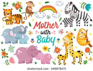 set of isolated animals mother with baby - vector illustration, eps