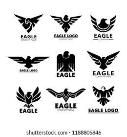 Set of isolated aquila eagles silhouette for company advertising or roman signs for branding, head and wings of hawk or falcon for badge. Gothic royal emblem and company insignia, branding theme