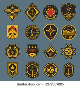 Set of isolated army badges or american military labels, soldier sign. Navy rank or air force tag. Crest with parachute and wings, star and anchor, sword. Elite force sticker. Clothing and war theme