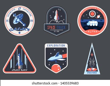 Set of isolated astronaut chevron or spaceman suit patches. Icons for cosmos or universe exploration, planet colonization with satellite and rocket, planet rover. Space and shuttle