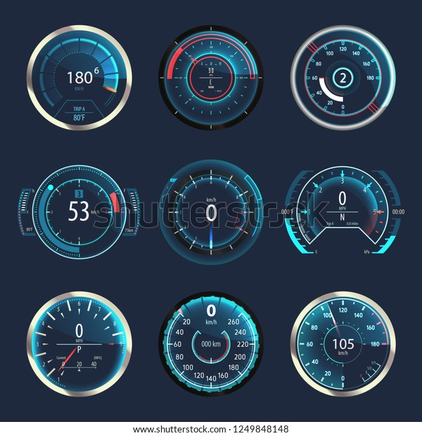 Set of isolated auto speedometers or truck, lorry odographs. Racing vehicle odometer or futuristic car panel speed gauge, automobile tachometer or download speed progress indicator.