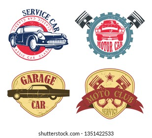 Set of isolated badges for car service or repair, moto garage or auto workshop. Vehicle service center icon, automobile shop or tuning maintenance, mechanic logo with classic auto. Diagnostic emblem