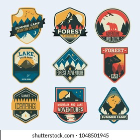 Set of isolated badges with mountain peaks and forest camp. Camp Patches. Badge for forest camping, exploration camp, tourism extreme sport club. Wild travel sticker. Landscape of rocks, national park