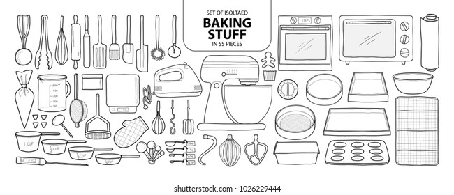80aa0150 Set of isolated baking stuff in 55 pieces. Cute hand drawn kitchen tools  vector illustration
