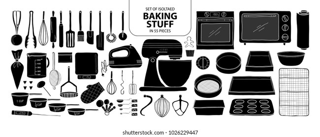 Set of isolated baking stuff in 55 pieces. Cute hand drawn kitchen tools vector illustration in black plane and white outline on white background.