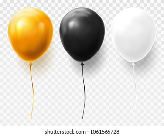 Set of isolated balloons on transparent. Realistic and volumetric glossy flying rubber balloons for celebration or anniversary, birthday or wedding gift.Entertainment and jubilee, congratulation theme