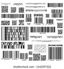 Set of isolated barcodes for information, product tracking, item identification and marketing, hyperlinks. Code for digital identification. Cellular scanning technology for web, computer links. Vector