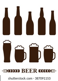 set of isolated beer bottle and mug silhouette with foam