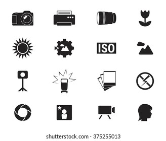 Set of isolated black icons on a theme photo