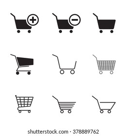 Set of isolated black icons on a theme shopping cart