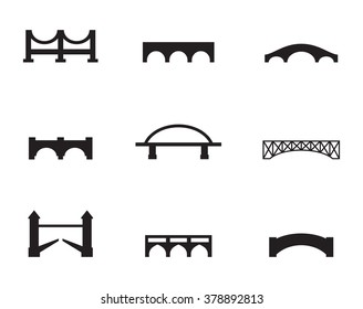 Set of isolated black simple icons bridges