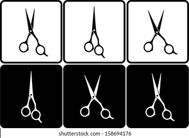 set of isolated black and white professional scissors in frame
