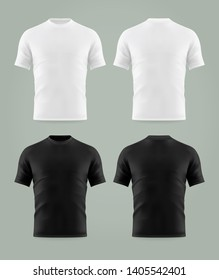 Set of isolated black and white t-shirt template. Mockup of shirts print background. Men or man, male empty or blank clothing. Mock-up of unisex wear or realistic u neck clothing design. Clothing