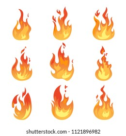 Set of isolated blazing wildfire or realistic flame icons. Hot campfire or burning bonfire, glowing spark or light ignition, game fireball. Danger and energy, warning and power, flaming theme