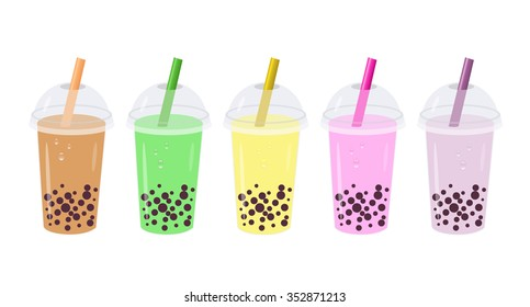 Set Isolated Bubble Tea or Milk Cocktail. Glass of drink with tubule on white background. Can be used for greeting cards, party invitations or menu. Vector. Drinks with banana, kiwi, cocoa, razz, etc.