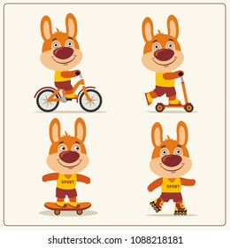 Set of isolated bunny rabbit bear on bike, skateboard, scooter and roller skates.