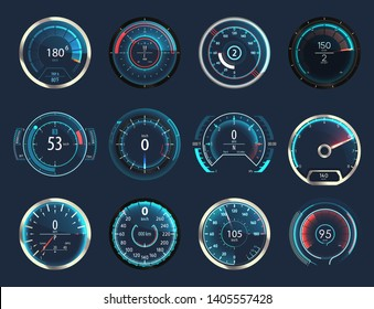 Set of isolated car or moto, truck speedometer. Motorbike or motorcycle, auto or automobile, lorry speed measure gauge. Odograph or odometer. Icon for download progress display, performance indicator
